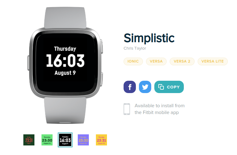 Simplistic on Fitbit Gallery